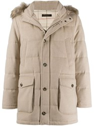 Loro Piana Fur Trimmed Parka Coat Neutrals