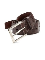 Saks Fifth Avenue South American Caiman Leather Belt Chocolate