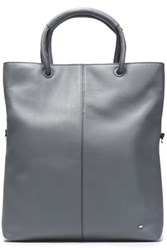 Halston Textured Leather Tote Gray