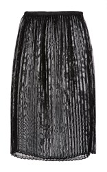 Sally Lapointe Black Woven Vinyl Pleated Midi Skirt Metallic