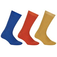 John Lewis Kin By Bright Ribbed Socks One Size Pack Of 3 Blue Orange Gold