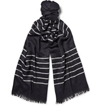 Begg And Co Staffa Striped Cashmere Silk Blend Scarf Midnight Blue