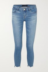 J Brand Cropped Distressed Low Rise Skinny Jeans Mid Denim