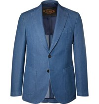 Tod's Blue Slim Fit Washed Denim Blazer