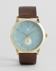 Asos Watch With Brown Strap And Blue Face Brown