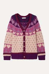 Loveshackfancy Deena Intarsia Knit Cardigan Blush