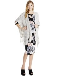 Jessica Simpson Maternity Fringed Open Front Sweater Gray