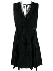 Class Roberto Cavalli Ruffled Mini Dress Black