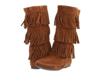 Minnetonka Calf Hi 3 Layer Fringe Boot Dusty Brown Suede Women's Pull On Boots