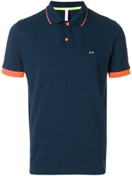 Sun 68 Stripe Collar Polo Shirt Blue