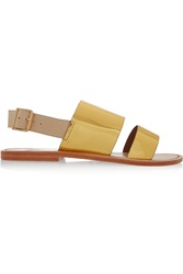 Sanchita Metallic Leather And Canvas Sandals
