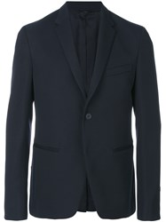Fendi Classic Fitted Blazer Men Polyester Cupro Wool 52 Blue