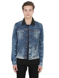 Diesel Leather Collar Faded Cotton Denim Jacket