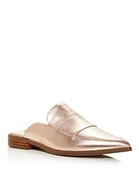 Charles David Porter Metallic Leather Mules Rose Gold