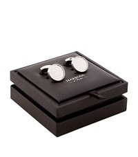 Harrods Of London Ribbed Round Sterling Silver Cufflinks Unisex