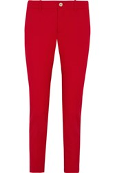 Gucci Stretch Wool And Silk Blend Straight Leg Pants Red
