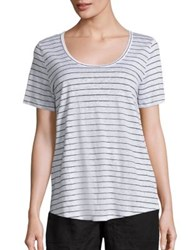 Eileen Fisher Thin Striped T Shirt White Black
