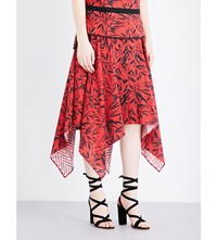 Prabal Gurung Handkerchief Hem Broderie Cotton Skirt Crimson Black