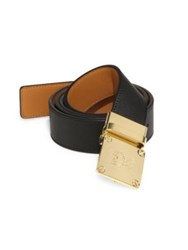 Mcm Goldtone Brass Buckle Leather Belt Black