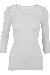 Hanro Seraphina Leavers Lace Paneled Ribbed Wool And Silk Blend Jersey Top Light Gray