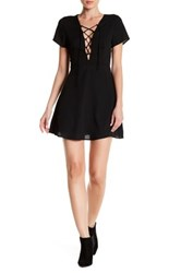 Lucca Couture V Neck Lace Up Short Sleeve Dress Black