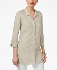 Jm Collection Wing Collar Roll Tab Shirt Only At Macy's Flax