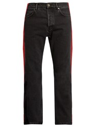 Balenciaga Side Striped Straight Leg Jeans Black Multi