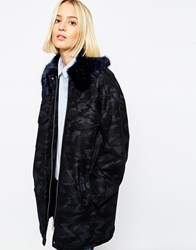 Asos White Camo Coat With Faux Fur Collar Navy