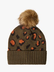 French Connection Contrast Leopard Beanie Orca