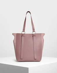 Charles And Keith Two Way Tote Bag Mauve