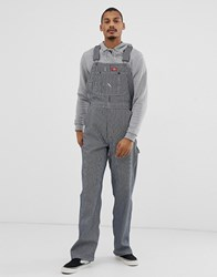 Dickies Hickory Dungarees In Stripe Blue