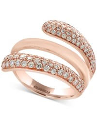 Effy Pave Rose By Diamond Swirl Ring 1 Ct. T.W. In 14K Rose Gold Rose Gld