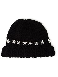 Wool And The Gang Knitted Star Beanie Hat Black