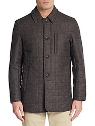 Saks Fifth Avenue Wool Quilted Coat Brown Tweed