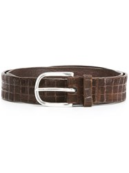 Orciani Textured Buckle Belt Brown