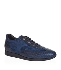 Stefano Ricci Crocodile Skin City Sneakers Male Navy
