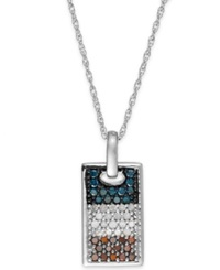 Macy's Diamond Flag Dog Tag Pendant Necklace In Sterling Silver 1 2 Ct. T.W.