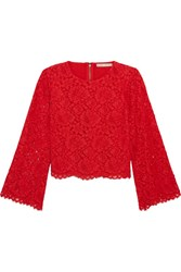 Alice Olivia Pasha Corded Lace Top Red