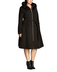 City Chic Miss Mysterious Hooded Coat Black