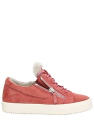 Giuseppe Zanotti 20Mm Suede And Shearling Sneakers