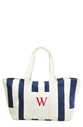 Cathy's Concepts Monogram Stripe Canvas Tote Blue Navy
