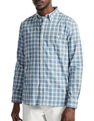French Connection Long Sleeve Plaid Shirt Bright Cobalt