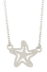 Kris Nations Sterling Silver Plated Starfish Charm Necklace Metallic