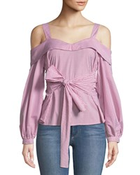 Laundry By Shelli Segal Sweetheart Cold Shoulder Wrap Front Blouse Red