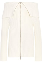 Paper London Cabin Off The Shoulder Ribbed Wool Cardigan Ivory
