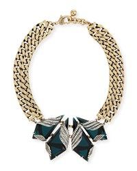 Reflection Crystal Curb Chain Collar Necklace Silver Gold Lulu Frost