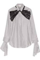 Isa Arfen Pussy Bow Striped Cotton And Silk Blend Shirt Charcoal
