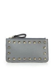 Valentino Rockstud Small Leather Key Pouch Marine Red Grey Black