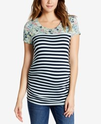 Motherhood Maternity Mixed Print T Shirt Navy Blue Haze