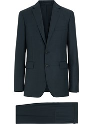 Burberry Slim Fit Wool Mohair Silk Suit Blue